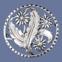 1940s Sterling Silver Floral Brooch Bench Made 13.7 Grams Art Nouveau Style