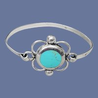 Vintage Turquoise and Sterling Silver Bracelet 1960s Southwestern Style