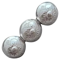 Southwest Style Brooch Sterling Silver Concho Style Diamond Etched