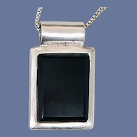 Sterling Silver and Onyx Necklace Art Deco Style Box Chain Minty