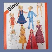 Vintage Sewing Pattern Barbie Doll Wardrobe 1983