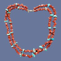 Coral and Turquoise Necklace 14k Gold Findings