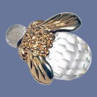 Faceted Crystal Bumble Bee Pin Honeycomb Facets
