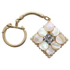 1960s Key Ring Rhinestones MOP and Faux Pearls Vanity Fun
