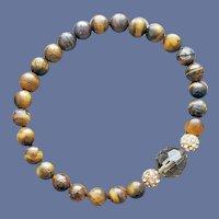 Tiger's Eye Rhinestone and Crystal Bead Bracelet S-M