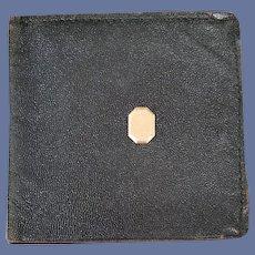 1920s Leather Wallet Billfold Gold Filled Medallion Art Deco