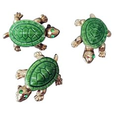 Trio of Porcelain Turtle Scatter Pins 1960s