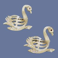 1960s Rhinestone Studded Swan Scatter Pins
