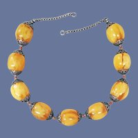 Tribal Necklace Exquisite Faux Copal Resin or Amber Beads