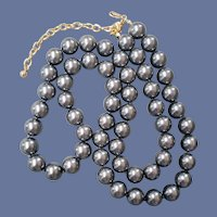 Joan Rivers Faux Pearl Necklace 30-35 Inches Gunmetal Gray