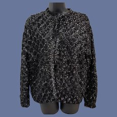 Black Sequin Cocktail Sweater Jacket Size Medium to Large
