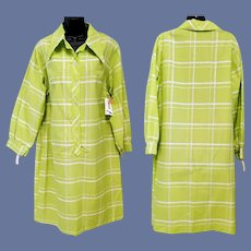 Fun 1970s Dress Green and White Unworn Size XLarge XL