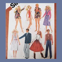 Vintage Barbie and Ken Doll Clothes Sewing Pattern 1982