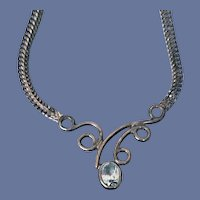 Sterling Silver and Blue Topaz Necklace Art Nouveau Style
