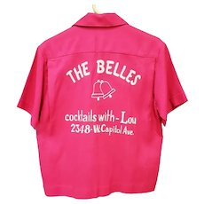 Pink Rayon Embroidered Bowling Shirt 1960s The Bells HAROLD