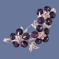Rhinestone Brooch Royal Purple and Lavender Stones Mint