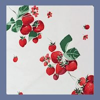 Vintage Cotton Kitchen Towel Red Strawberries 1950s