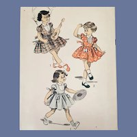Vintage Sewing Pattern Little Girls Dress Size 6 Child