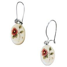 Child's Dainty Pierced Earrings Scrimshaw Roses