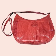 Vintage Red Snake Skin Purse Long Shoulder Strap Minty