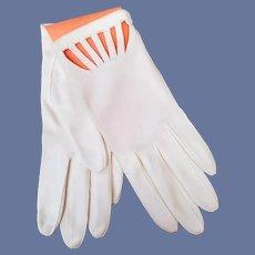 Fancy White Gloves Vintage 1965 Unworn Cut Out Cuffs Small