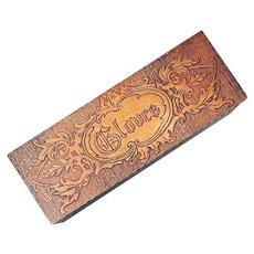 Antique Wood Pyrograph Glove Box 1900 Art Nouveau Pyrography