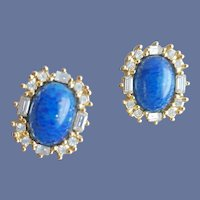Brilliant Faux Lapis and Rhinestone Pierced Earrings