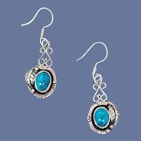 Sterling Silver Earrings Faux Turquoise Mint Condition