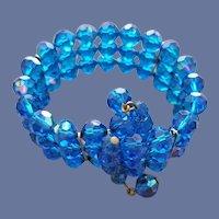 Montana Blue Crystal Bracelet Memory Wire Wrap
