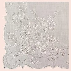 Unused Vintage Wedding Handkerchief With Appenzell Embroidery
