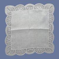 White Lace Handkerchief Wedding Christening Mint