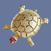 1960s Turtle Brooch Red Rhinestones Sea Creature Mid Century