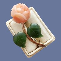 Carved Angel Skin Coral Rose Brooch with Jade Leaves Dainty