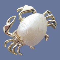 Pearly Sand Crab Pin With Rhinestones Ocean Creature