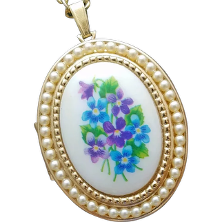 Double Sided Vintage Locket Violets and Faux Seed Pearls