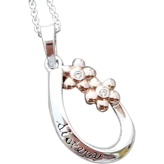 Sterling Silver Sisters Necklace Forget Me Not Blossoms
