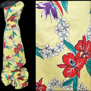 Vintage Cotton Sewing Fabric Hawaiian Print