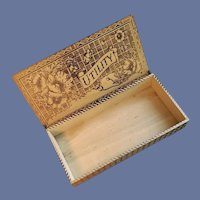 Antique Utility Pyrography Box Art Nouveau Sewing Gloves Ties