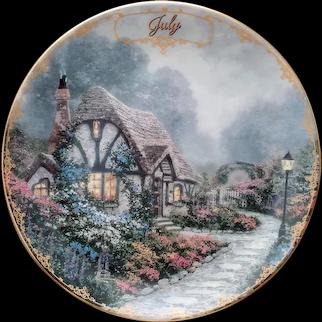 Small Thomas Kinkade Plate Chandler's Cottage July Birthday Gift