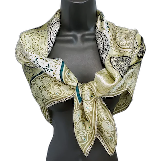 Large Silk Satin Scarf Art Nouveau Medallions Unworn