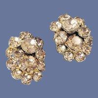 Eisenberg Golden Yellow Rhinestone Clip Earrings Fall, Spring and Summer