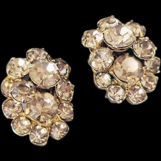 Eisenberg Golden Yellow Rhinestone Clip Earrings Spring and Summer