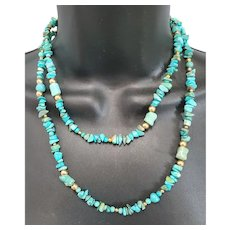Long Turquoise Bead Necklace Gold Bead Accents