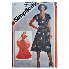 Vintage 1980 Sewing Pattern Evening Gown Swirling Dress Bust 34