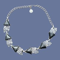 1950s Necklace Classic Choker Link Design Gray Silver MCM