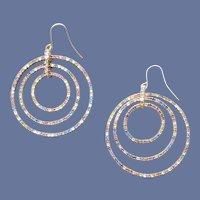 Pierced Earrings Triple Hoop Rainbow Rhinestone Pastel Dangles