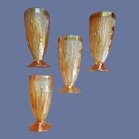 4 Iris and Herringbone Footed Tumblers Marigold Jeanette Glass
