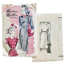 Rare 1940s Dress Sewing Pattern Art Deco Design Bust 36