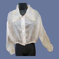 Antique Silk Blouse Edwardian Era Size Medium MOP Buttons