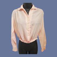 1910 Antique Blouse Pink Silk Edwardian Era Size Sm-Medium